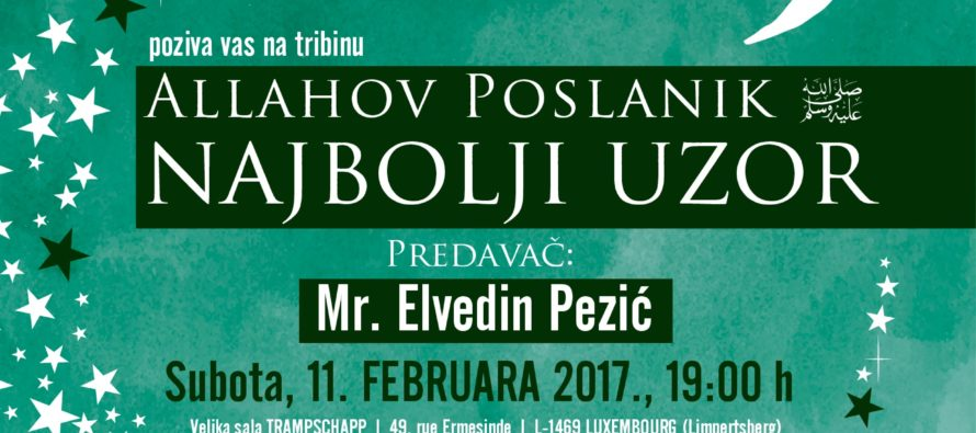 Velika tribina 11. februara u Luksemburgu: Gost Mr. Elvedin Pezić